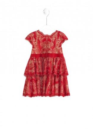 红色牡丹连衣裙