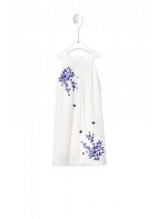 紫藤刺绣拼接连衣裙