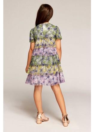 层叠印花雪纺连衣裙