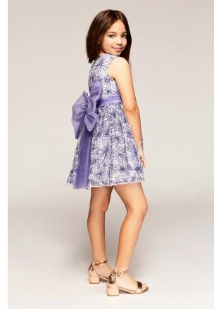花朵蕾丝收腰摆浪连衣裙