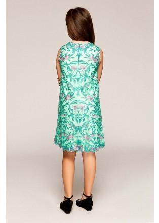 花草刺绣蕾丝直身连衣裙
