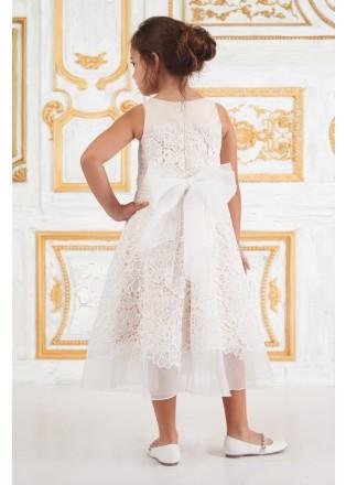 蝴蝶结蕾丝摆浪小礼服