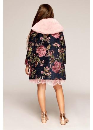 玫瑰提花皮草外套