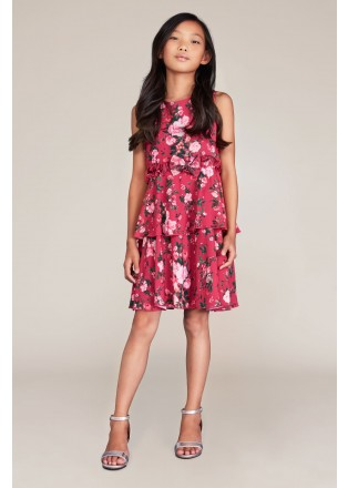 花朵图案雪纺层叠连衣裙