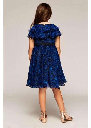 玫瑰印花雪纺摆浪连衣裙