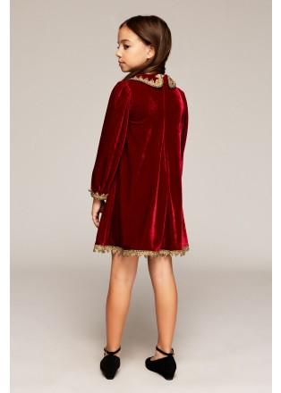 丝绒镶边连衣裙