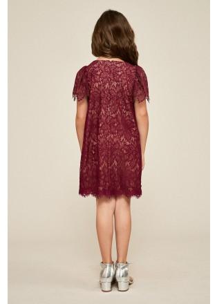 刺绣蕾丝短袖大摆连衣裙