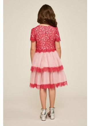 撞色蕾丝层叠连衣裙