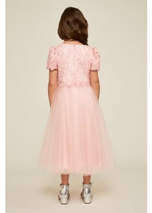立体花朵贴花网纱连衣裙