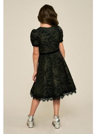 烫金短袖摆浪连衣裙