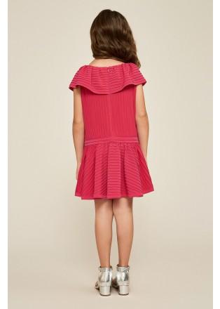 荷叶边针织连衣裙