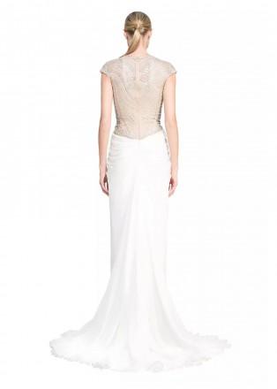钉珠装饰雪纺修身长裙