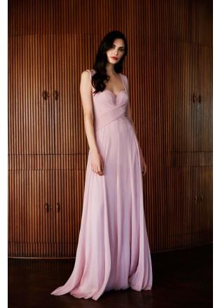 牛奶丝吊带抽褶性感长裙