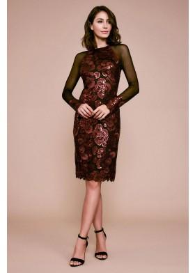 珠片蕾丝网纱长袖连衣裙