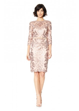 珠片蕾丝腰带装饰连衣裙