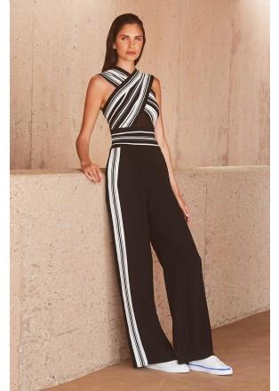 黑白条纹交叉连体裤