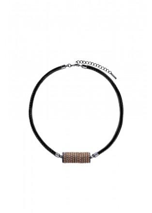 机械齿轮皮绳项链