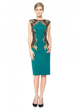 氯丁金属珠片装饰直筒船领连衣裙