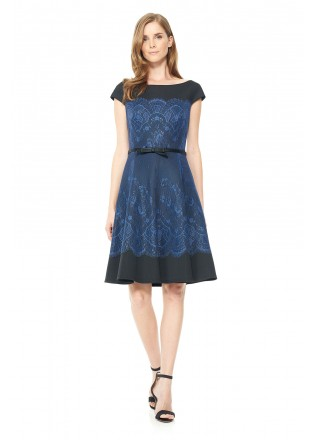 氯丁蕾丝腰带摆浪盖袖连衣裙