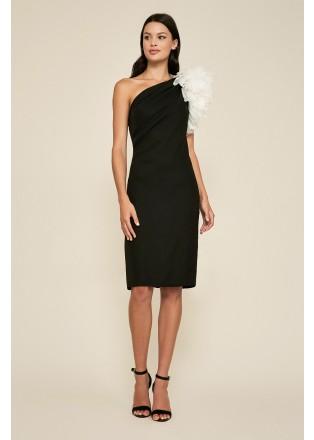 立体花朵斜肩连衣裙