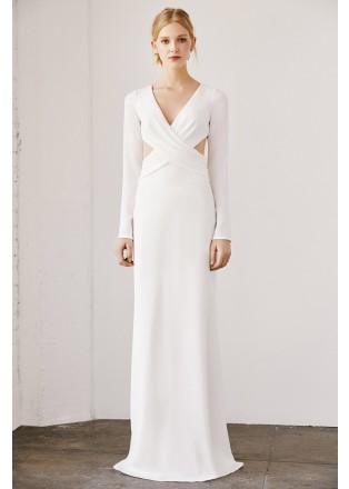 V领镂空露背修身长裙