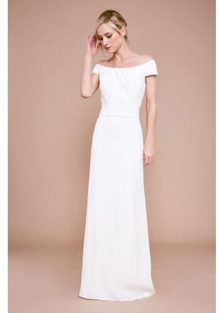 露肩绉纱褶皱修身长裙