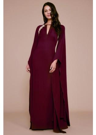 金属蕾丝装饰披肩式长裙