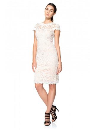 股线绣花蕾丝盖袖连衣裙