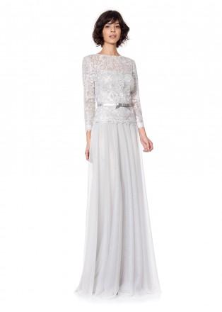 金属绣花蕾丝腰带装饰长裙