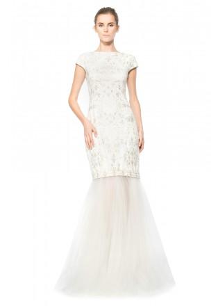 绣花网纱可脱卸盖袖长裙