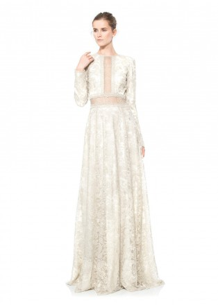 金属绣花镂空珠链装饰长袖长裙