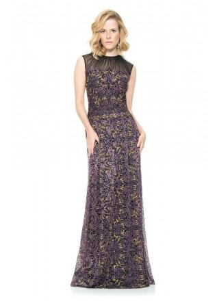 金属绣花蕾丝修身长裙