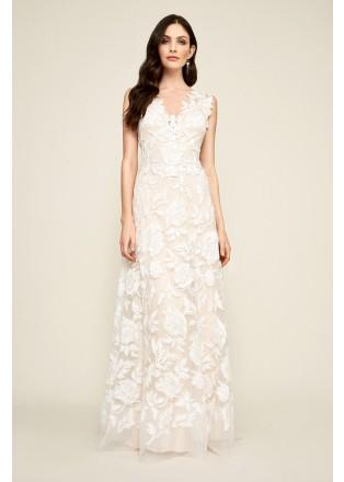 花朵蕾丝深V长裙