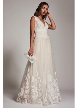 花朵蕾丝网纱深V长裙