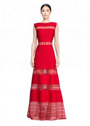 部落绣花打条针织修身长裙