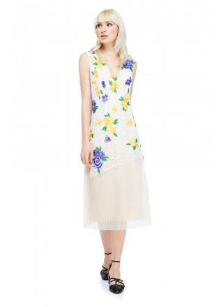 花朵装饰V领连衣裙