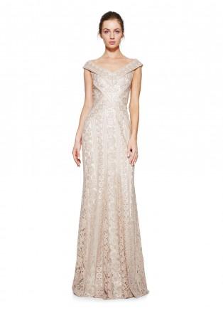 珠片蕾丝V领修身长裙
