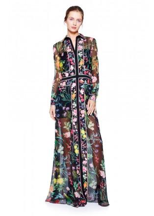 花朵印花蕾丝衬衫领长裙