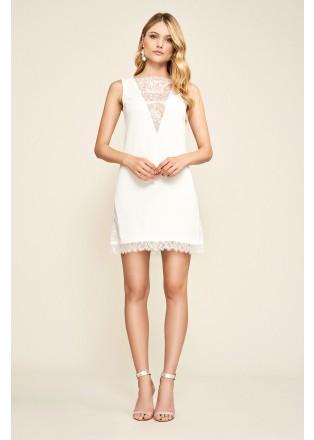 白色蕾丝拼接连衣裙