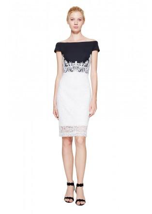 黑白撞色盖袖连衣裙
