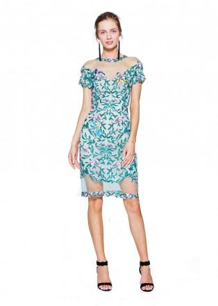 花鸟刺绣镂空直身连衣裙