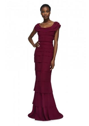 绉纱层叠修身连衣裙