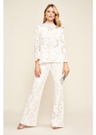 花朵蕾丝长裤