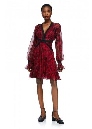 玫瑰雪纺印花V领连衣裙