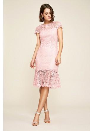 蕾丝拼接收腰鱼尾连衣裙