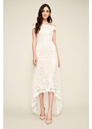 绣花蕾丝露肩束腰连衣裙