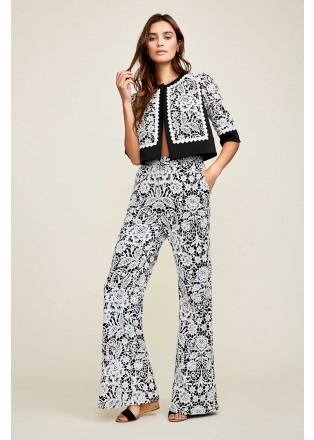 黑白撞色蕾丝长裤