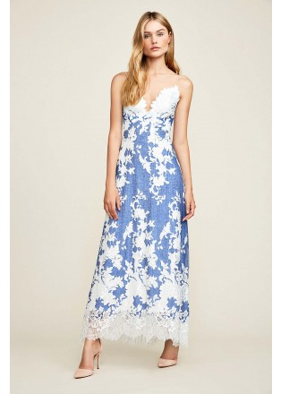 绣花蕾丝V领吊带长裙