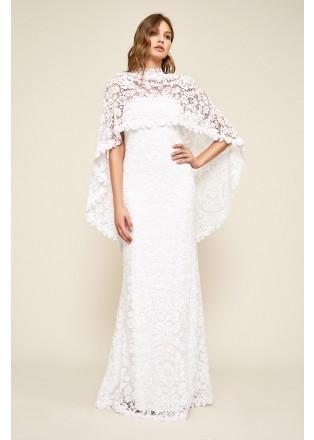 斗篷式蕾丝修身长裙