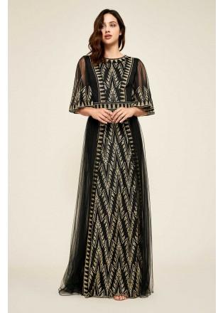 几何刺绣喇叭袖长裙